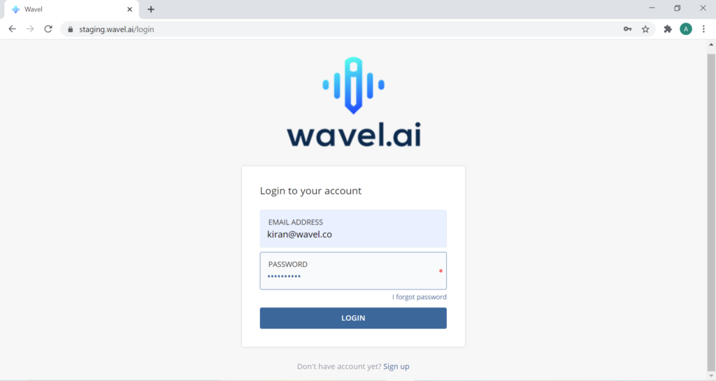 Wavel's login page with placeholder details in the input fields