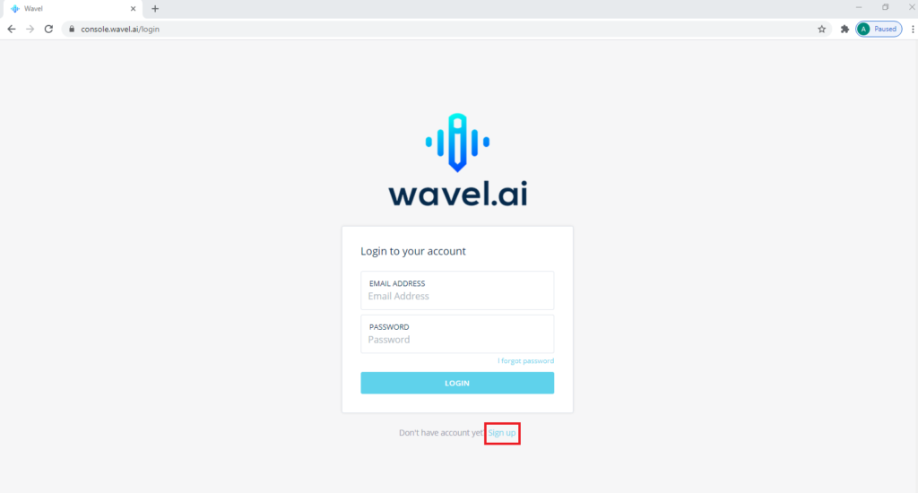 Wavel's login page with a red outline arouind the Sign up link