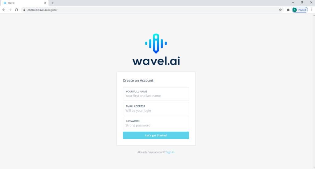 Wavel's Register page