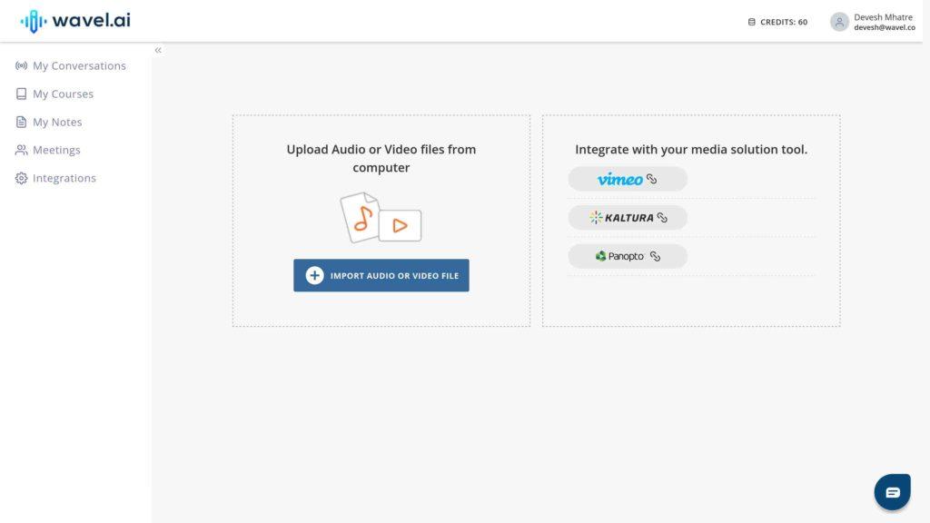 User dashboard in Wavel's new UI