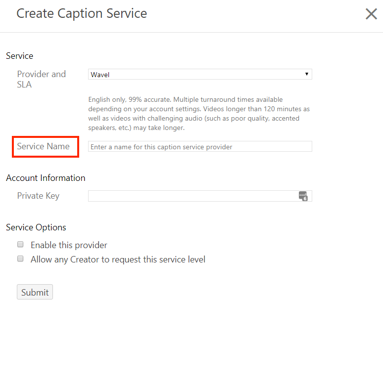 Create Captions Services with Service Name highlighted