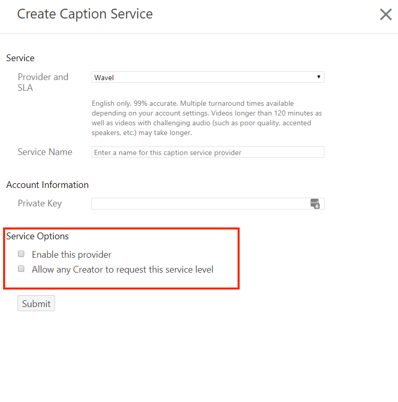 Create Captions Services with Service Options highlighted