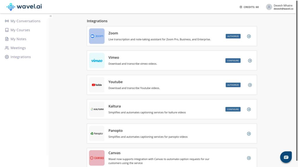 Wavel integrations page