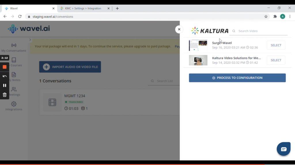 Kaltura videos on Wavel