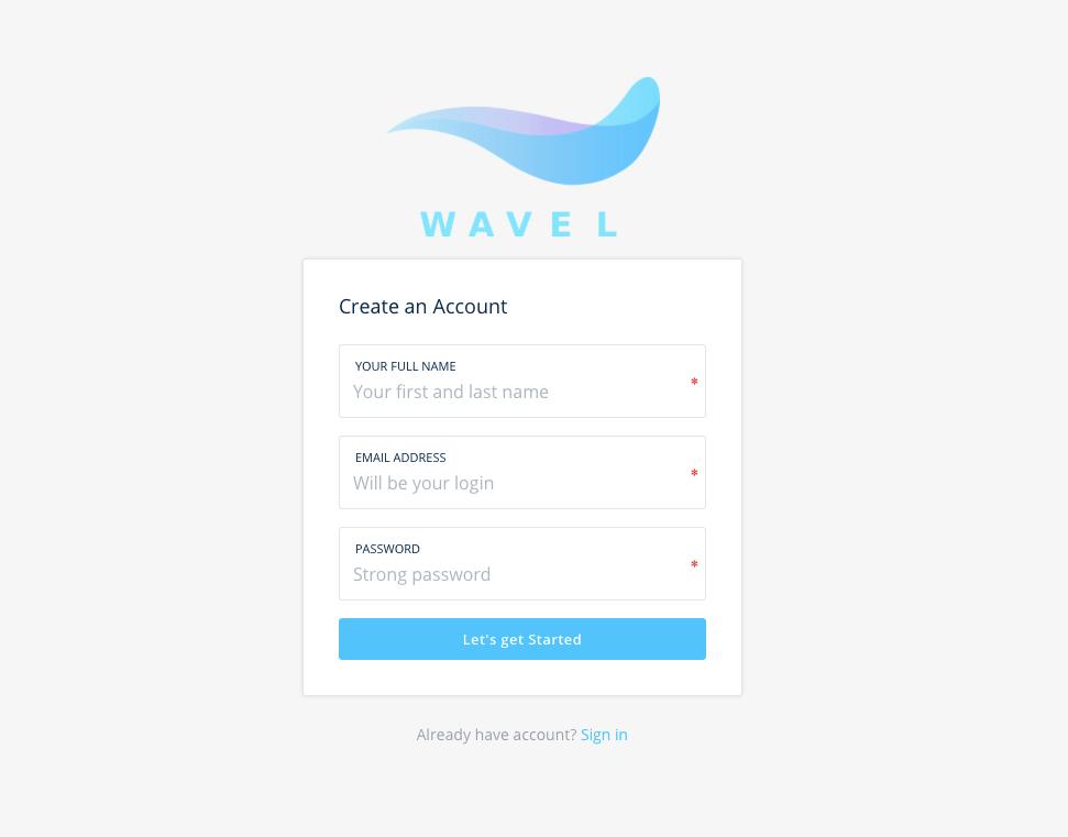 Wavel Registration Page